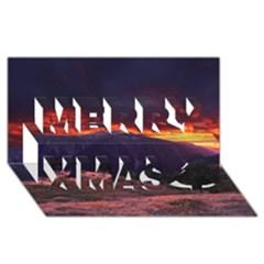 San Gabriel Mountain Sunset Merry Xmas 3d Greeting Card (8x4)  by trendistuff