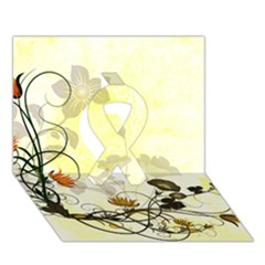 Wonderful Flowers With Leaves On Soft Background Ribbon 3d Greeting Card (7x5)  by FantasyWorld7