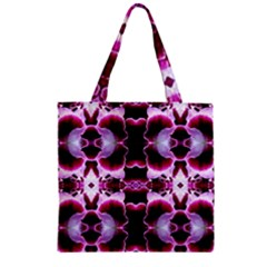 White Burgundy Flower Abstract Zipper Grocery Tote Bags by Costasonlineshop