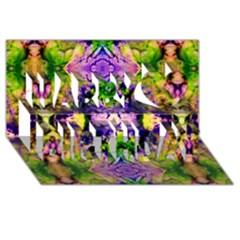 Green,purple Yellow ,goa Pattern Happy Birthday 3d Greeting Card (8x4)  by Costasonlineshop