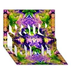 Green,purple Yellow ,goa Pattern You Did It 3d Greeting Card (7x5) by Costasonlineshop