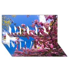 Pink Flowers Merry Xmas 3d Greeting Card (8x4)  by trendistuff