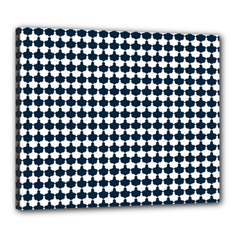 Navy And White Scallop Repeat Pattern Canvas 24  X 20  by PaperandFrill