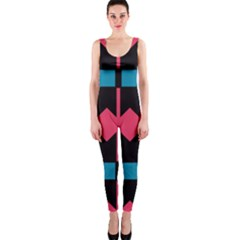 Rhombus And Stripes Pattern Onepiece Catsuit by LalyLauraFLM