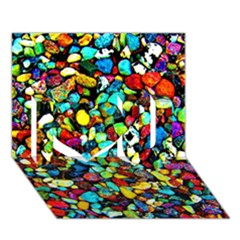 Colorful Stones, Nature I Love You 3d Greeting Card (7x5)  by Costasonlineshop