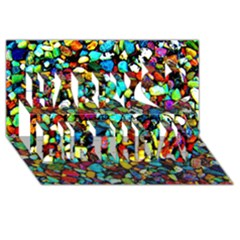 Colorful Stones, Nature Happy Birthday 3d Greeting Card (8x4)  by Costasonlineshop