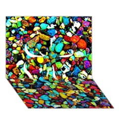 Colorful Stones, Nature Clover 3d Greeting Card (7x5)  by Costasonlineshop