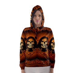 Awsome Skull With Roses And Floral Elements Hooded Wind Breaker (women) by FantasyWorld7