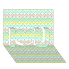 Scallop Repeat Pattern In Miami Pastel Aqua, Pink, Mint And Lemon I Love You 3d Greeting Card (7x5)  by PaperandFrill