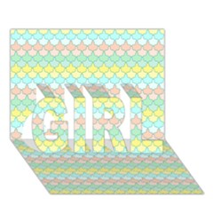 Scallop Repeat Pattern In Miami Pastel Aqua, Pink, Mint And Lemon Girl 3d Greeting Card (7x5)  by PaperandFrill