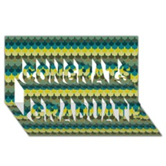 Scallop Pattern Repeat in  New York  Teal, Mustard, Grey and Moss Congrats Graduate 3D Greeting Card (8x4)  by PaperandFrill