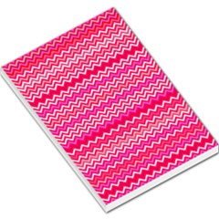 Valentine Pink And Red Wavy Chevron Zigzag Pattern Large Memo Pads by PaperandFrill