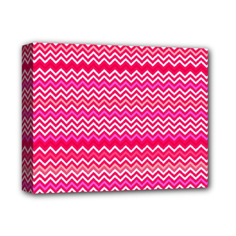 Valentine Pink And Red Wavy Chevron Zigzag Pattern Deluxe Canvas 14  X 11  by PaperandFrill