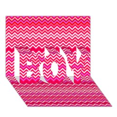 Valentine Pink And Red Wavy Chevron Zigzag Pattern Boy 3d Greeting Card (7x5) by PaperandFrill