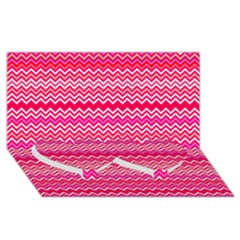 Valentine Pink And Red Wavy Chevron Zigzag Pattern Twin Heart Bottom 3d Greeting Card (8x4)  by PaperandFrill