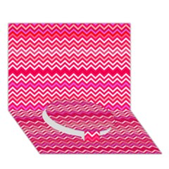 Valentine Pink And Red Wavy Chevron Zigzag Pattern Circle Bottom 3d Greeting Card (7x5)  by PaperandFrill