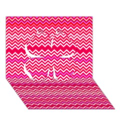 Valentine Pink And Red Wavy Chevron Zigzag Pattern Clover 3d Greeting Card (7x5)  by PaperandFrill