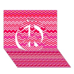 Valentine Pink And Red Wavy Chevron Zigzag Pattern Peace Sign 3d Greeting Card (7x5)  by PaperandFrill