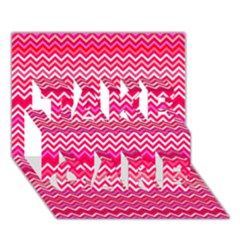 Valentine Pink And Red Wavy Chevron Zigzag Pattern Take Care 3d Greeting Card (7x5)  by PaperandFrill