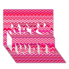 Valentine Pink And Red Wavy Chevron Zigzag Pattern Get Well 3d Greeting Card (7x5)  by PaperandFrill