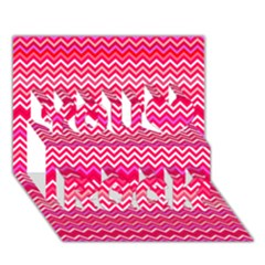 Valentine Pink And Red Wavy Chevron Zigzag Pattern You Rock 3d Greeting Card (7x5)  by PaperandFrill