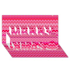 Valentine Pink And Red Wavy Chevron Zigzag Pattern Merry Xmas 3d Greeting Card (8x4)  by PaperandFrill