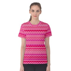 Valentine Pink And Red Wavy Chevron Zigzag Pattern Women s Cotton Tee by PaperandFrill