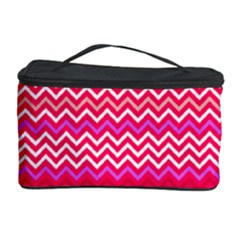 Valentine Pink And Red Wavy Chevron Zigzag Pattern Cosmetic Storage Cases by PaperandFrill