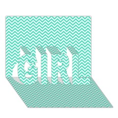 Tiffany Aqua And White Chevron Wavy Zigzag Stripes Girl 3d Greeting Card (7x5)  by PaperandFrill