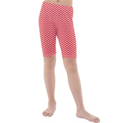 Red And White Chevron Wavy ZigZag Stripes Kid s Mid Length Swim Shorts by PaperandFrill