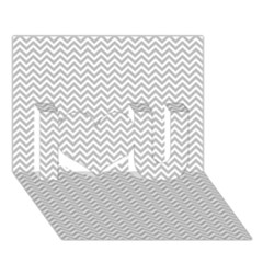 Silver And White Chevrons Wavy Zigzag Stripes I Love You 3d Greeting Card (7x5)  by PaperandFrill