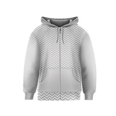 Silver And White Chevrons Wavy Zigzag Stripes Kids Zipper Hoodies