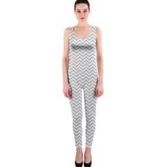 Silver And White Chevrons Wavy Zigzag Stripes Onepiece Catsuits by PaperandFrill