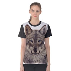 Wolf Women s Cotton Tee 1 by ArtByThree