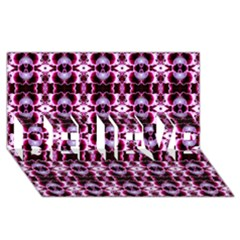 Purple White Flower Abstract Pattern Believe 3d Greeting Card (8x4)  by Costasonlineshop
