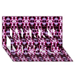 Purple White Flower Abstract Pattern Merry Xmas 3d Greeting Card (8x4)  by Costasonlineshop
