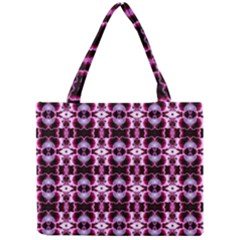 Purple White Flower Abstract Pattern Tiny Tote Bags by Costasonlineshop