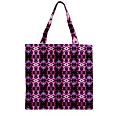 Purple White Flower Abstract Pattern Zipper Grocery Tote Bags by Costasonlineshop