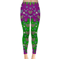The Brightest sparkling stars Is Love Winter Leggings  by pepitasart