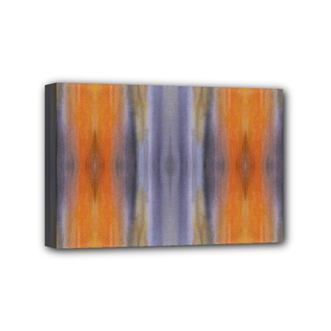 Gray Orange Stripes Painting Mini Canvas 6  X 4  by Costasonlineshop