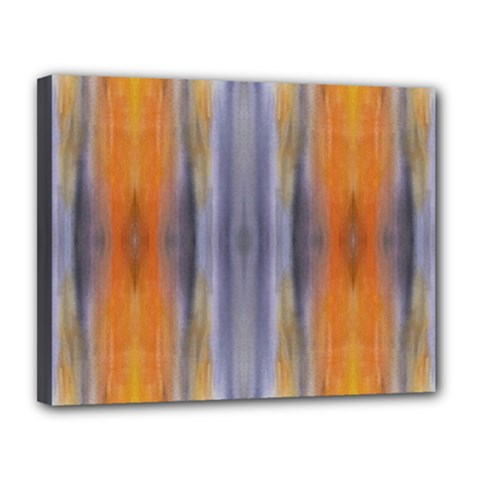 Gray Orange Stripes Painting Canvas 14  X 11  by Costasonlineshop