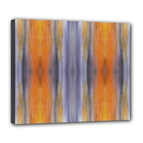 Gray Orange Stripes Painting Deluxe Canvas 24  x 20   by Costasonlineshop