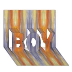 Gray Orange Stripes Painting Boy 3d Greeting Card (7x5) by Costasonlineshop