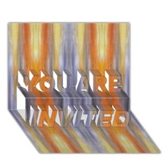 Gray Orange Stripes Painting You Are Invited 3d Greeting Card (7x5)  by Costasonlineshop