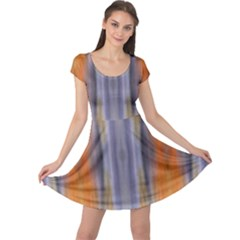 Gray Orange Stripes Painting Cap Sleeve Dresses by Costasonlineshop
