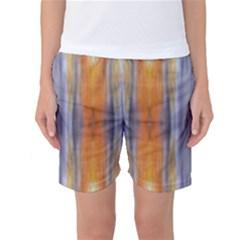 Gray Orange Stripes Painting Women s Basketball Shorts by Costasonlineshop