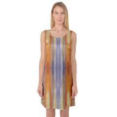 Gray Orange Stripes Painting Sleeveless Satin Nightdresses by Costasonlineshop