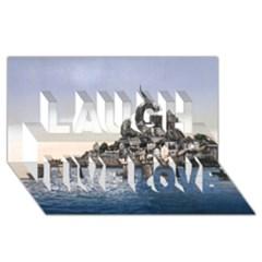 Le Mont St Michel 2 Laugh Live Love 3d Greeting Card (8x4)  by trendistuff