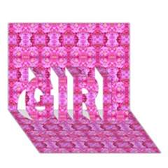 Pretty Pink Flower Pattern Girl 3d Greeting Card (7x5)  by Costasonlineshop