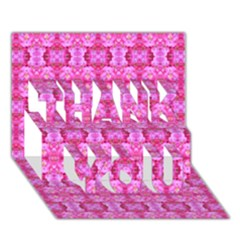 Pretty Pink Flower Pattern Thank You 3d Greeting Card (7x5)  by Costasonlineshop